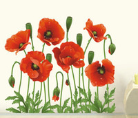 big red decal - Big Discount RED POPPY Removable Wall Decals Home Decor Art Flower Vinyl Mural Wall Stickers