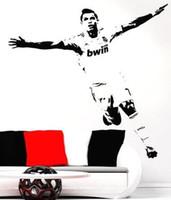 Wholesale New Vinyl Removable PVC Art Mural Football Cristiano Ronaldo Wall Stickers For Kids Children Room Decor Size cm cm