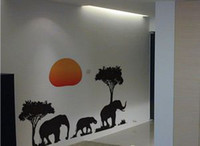 Graphic vinyl african wall decals - African Elephants Trees Sunset Wall Art Decal Animals Paper Sticker Decals