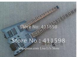 Guitare double goulots à vendre-Gros-Double sans tête de cou gris guitare 6 cordes guitare basse 4 cordes en Chins livraison gratuite