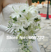 Wholesale New Real Touch Pvc Wedding Church Decoration Artificial Lily Bridal Flower Bouquet Ideas wisteria buque de noiva White FL995