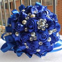 Wholesale New Accept Custom Handmade Sapphire Blue Ribbon Bouquet Decorative Silk Rose flower Bride Bridal Crystal Wedding Bouquets