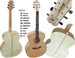 Promotion acoustique de érable flammé Gros-jumbo épinette en bois massif avec érable flammé acoustique 42inch de guitare avec coquille de rose incrusté en haut frette de haute qualité