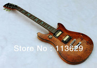 Wholesale Double Cut Way Electric Guitar with Quilted Maple Top Amber