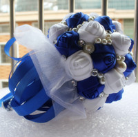 artificial sapphire - Accept Order Color Wedding Bouquet Decorative Artificial Sapphire Blue Rose Wedding Flower Bridal Crystal Pearl Silk Bouquets