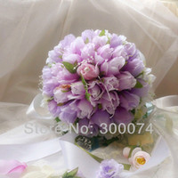 artificial flowers retail - Artificial Roses Silk Flower Bouquet for Wedding Ivory White Blue Purple Pink Coral Retail