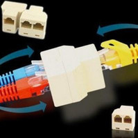 Wholesale DISCOUNT CAT5 RJ45 TO Network Splitter Cable Extender Plug Coupler Drop shipping suppo