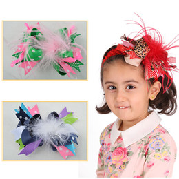Wholesale inch Baby children Apparel hair accessories big hair bows headbands Minimum order amount hairbow with feather MN01