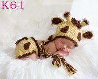 Wholesale Crochet Baby Giraffe Hat Earflap hat Baby Newborn Crochet Hat Does not include diaper cover