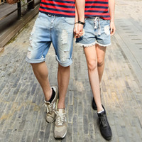 Cheap Wholesale-Lovers denim shorts 2015 new arrival fashion ripped women's men's casual loose bermuda shorts jeans couple clothes FQ007