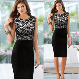 Womens Sexy Summer Sleeveless Lace Slim Bodycon Party Pencil Dresses Freeshipping&Wholesale