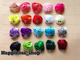 Wholesale-100pcs lot (can select colors) DIY Baby Kids 4cm Satin Rolled Ribbon Rose Flowers polyester fabric rosettes hair accessories