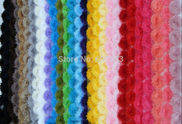 Wholesale-2.5''Chic shabby frayed flower trim chiffon flower for baby girl hair flower,shoes,clothes 25yards lot 43 colors U pick