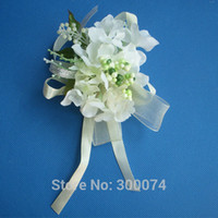 Wholesale Wedding Boutonniere Brooch Elegant Artificial Hydrangea Flower For Groom and Groomsmen Various Colors