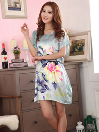 2015 New Arrival Women Silk Dress,Short Sleeves Knee-length Silk Nightgown Printed,Fashion Hot Sale Women Nightwear Sleep Tops