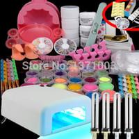 uv gel nail kit with light - Hot W White UV Lamp with Free Bulbs Gel Polish Curing Dryer Light Acrylic Nail Art Kit Set Acrylic Powder Glitter
