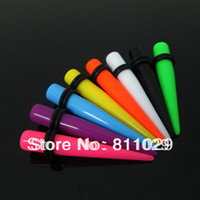 Wholesale Hot solid colors piercing ear expander mixed gauges acrylic ear taper