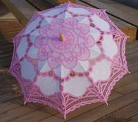 battenburg lace parasol - Battenburg Pink and White Lace Parasol Umbrella Wedding Bridal Party Inch