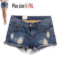 Women Regular Zipper Fly Wholesale-2015 New fashion Summer 6XL plus size Mid Waist american apparel casual Blue hole ripped short jeans Denim loose shorts feminino