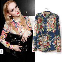 Stand Regular Rayon Wholesale-2015 New S-XL women Vintage full Floral Print Long Sleeve Blouse Shirts lady fashion flower chiffon Shirt blouses top
