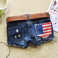 america jean shorts - Spring Summer Female Women Europe America Korea Fashion Short Hole Thin Low Waist Woman Denim Shorts Jean no belt