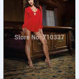 Wholesale Plus ALL S M L XL XXL XXXL Size Black White Red Color Sleepwear Notched Lady Women Blouse Chiffon Camisa Sexy Lingerie Shirt