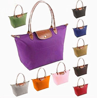 Folding synthetic leather tote - New Large Women Bag Synthetic Leather Tote Shopping Bag Nylon WaterProof Colorful Handbag Classic Handbags Dumpling Bags