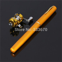 Wholesale New Golden Vara De Pesca Mini Aluminum Pocket Pen Fishing Rod Pole Reel Sea Fishing Rods Tackle Tool