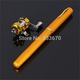 Wholesale New Golden Vara De Pesca Mini Aluminum Pocket Pen Fishing Rod Pole Reel Sea Fishing Rods Tackle Tool