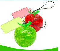 Wholesale 40pcs red green apple mini d crystal puzzle with keychain