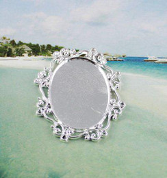 50 Silver plated glue on bail picture frame oval charm A11664SP
