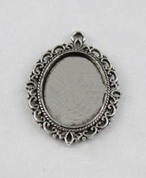 50pcs Tibetan sivler glue on bail picture frame oval charm A11665