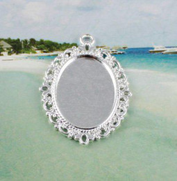 50pcs Silver plated glue on bail picture frame oval charm A11665SP