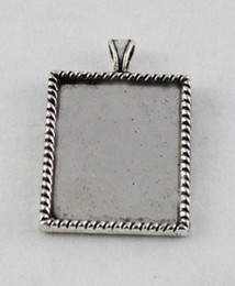 50 Tibetan silver glue on bail picture frame rectangle charm A12192