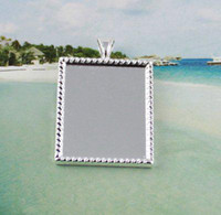 Wholesale 50 Silver plated glue on bail picture frame rectangle charm A12192SP
