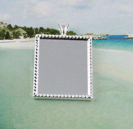 50 Silver plated glue on bail picture frame rectangle charm A12192SP