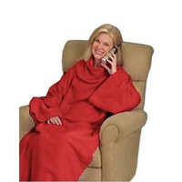 Wholesale New Portable x131cm Warm Snuggie Fleece Blanket With Sleeves Red or Blue Couch Blanket