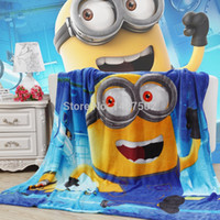 Wholesale New Spring summer The Minions pattern cartoon coral fleece flannel fabric super soft air condition blankets bed sheet cm