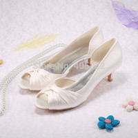 Women almond champagne - Custom Handmade Low Heel Pumps Open Toe Bridal Shoes for Women Satin Ivory Wedding Summer Shoes Free