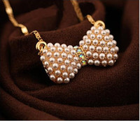 Pendant Necklaces Women's Metal,Pearl Wholesale-$10 (mix order) Free Shipping The Kaki Show 2015 New Fashion Small Fresh Bow Pearl Necklace Collarbone Chain N500 26g