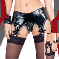 Wholesale Womens black sexy metallic faux leather latex Garter Belt Suspender set with underwear panty for stockings clubwear lingerie