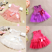 TuTu age ball - Baby Girls One Piece Formal Dress Lace Flower Bow Bowknot Party Dress Age YFree Drop Shipping
