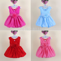 Cheap Wholesale-2015 new arrival baby girls wedding party dress,children girl Princess Dress kids girl bow tutu birthday dress for Christmas
