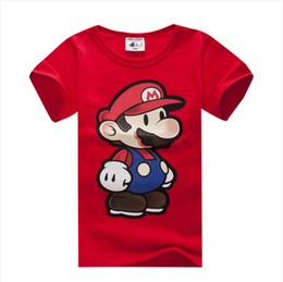 Wholesale-2015 New boys girls white 100% cotton safe material t-shirt cartoon red Mario children's clothing t shirts kids wear many