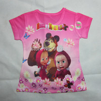 Spring / Autumn baby bear clothing - Retail baby Masha and bear short sleeve D t shirts clothes Children clothing Boys Girls t Shirt for Kids
