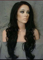 Wholesale 26 quot black ladies sexy fashion long hair front lace wigs synthetic front lace wig