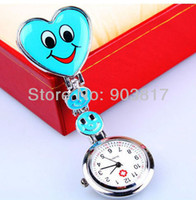 Wholesale Colors optional Heart Shape Cute Smile Face Nurse Quartz Pocket Watch Pin Brooch Portable beautiful gift freeshipping