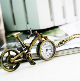 Wholesale items steampunk death note Quartz Antique Classical Copper Lovely Bicycle Pocket Watches Necklace mini miniature watch