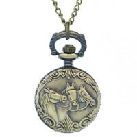 Casual classical pocket watch - Classical Three Antique Bronzed Horses Mini Pocket Watch Copper Terracotta Warriors Three Horses Quartz Watch Tiny Fob Watches