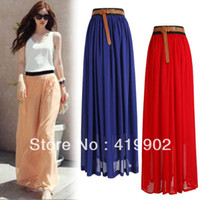 Polyester Solid Ankle-Length Wholesale-Summer Women Chiffon Full Long Maxi Skirt Puff Beach Skirts High Waist Elastic Waistband 100CM Free Shipping